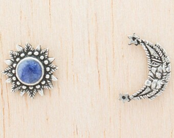 Dawn & Dusk | 950 Sterling Silver Earrings with Blue Sodalite | Handcrafted by Peruvian Artisans