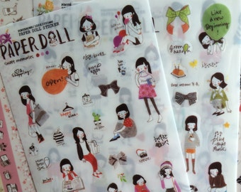 6 sheets Korea Transparent deco stickers - paper doll