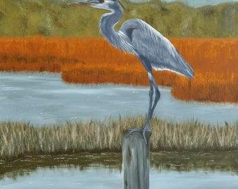 Heron On The Marsh - Print