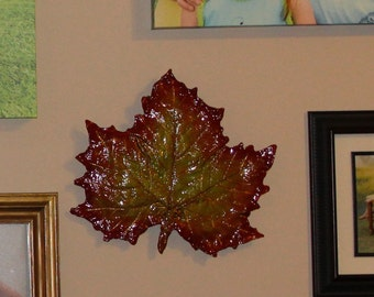 Leaf Casting in fall colors.  Fall decoration for the home.  Handmade folk art. detailed leaf back and front.