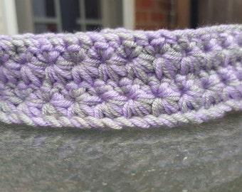 Purple and Grey Star Stitch Baby Headband