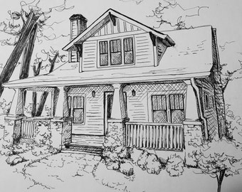 Custom 8x10 Pen and Ink House Portrait