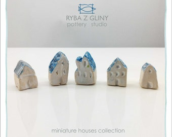 Five Houses - miniature pottery houses, Ceramic houses, Small clay houses, Tiny house.