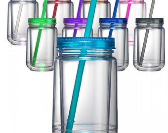 Blank Mason Jar Tumblers ~ Acrylic Mason Jar Tumblers with Lid and Straw
