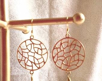 Aqua marine gold earrings