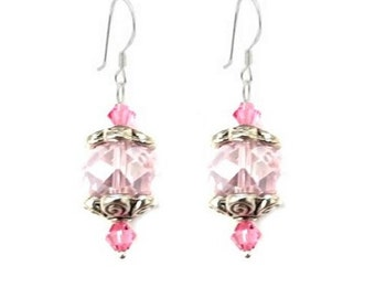 "October Birthstone Celestial/Swarovski Crystal Silver Earrings 1.5"""