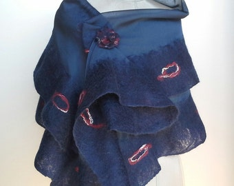 Silk and merino wool scarf, nunofeltro scarf, Feltroseta stole, Silk stole, silk collar and merino wool, ship