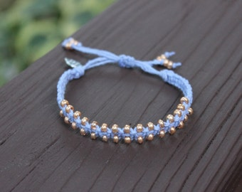 Beaded French Blue Hemp Bracelet