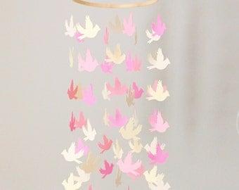 Pink Bird Mobile - Pink Nursery Decor - Pink Baby Shower Decor
