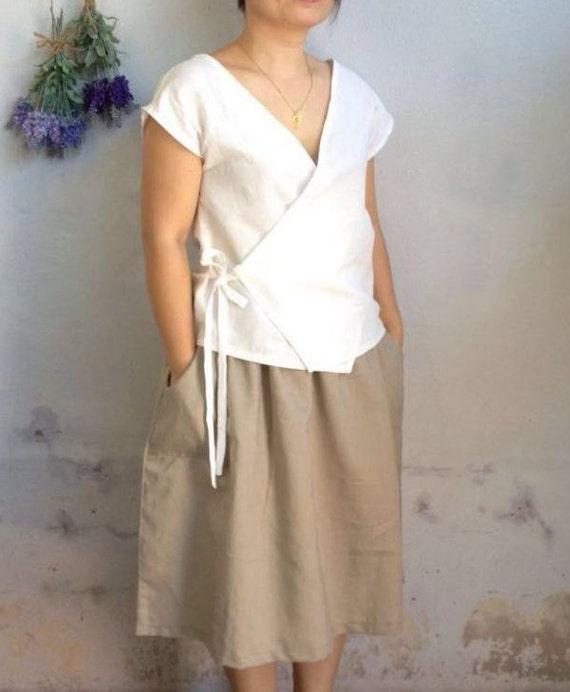 Linen Wrap Top Minimalist Wrap Linen Blouse