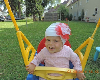 Cap turban Hat white with red flower baby girl