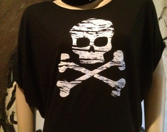 Distressed Skull and Bones T-shirt Top
