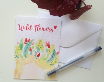 "Greeting card ""Wild flowers"" watercolor"