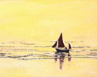 Original Sunset Sailing Acrylic Art Painting