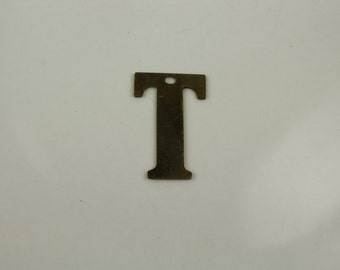 Raw Brass Alphabet Letter T Pre-Drilled Findings