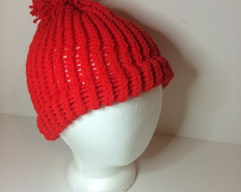 Red Crochet Pom Pom Beanie Winter Hat