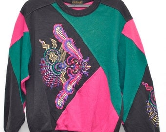 Vintage Torch light Sweater Geometry Symbol Color Full Sweater Large Size