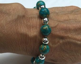 Turquoise, beige and silver bracelet