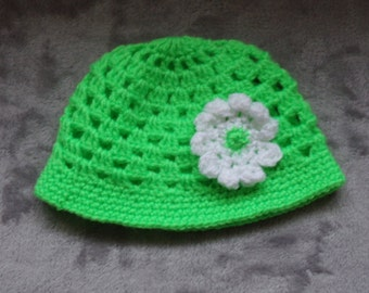 Crochet Baby Hat - Green with white flower