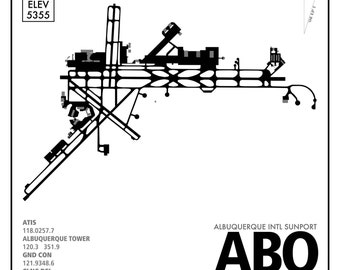 ABQ Albuquerque International Airport Travel Infographic Art Print on Paper Variety of Colors and Styles for Home of Office Decor