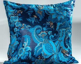 Designer throw pillow, decorative pillow, Scalamandre fabric, High End pillow, Blue Scalamandre design, toss pillow