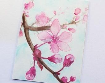 ACEO Original, Watercolor Painting, Vibrant Pink Flowers, Beautiful Prunus Art, Chokecherry Tree, Spring Blossoms, Blooming Tree ATC