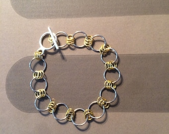 Handmade Silver and Gold Chain Loop Bracelet