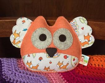 Wool felt owl softie, owl rattle, owl,plush