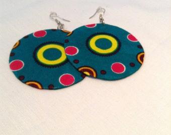 Teal Circled Earrings
