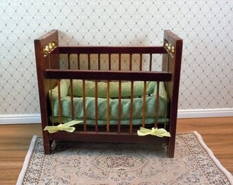 Dollhouse miniature furniture crib; twelfth scale, 1:12 scale.  Item #276.
