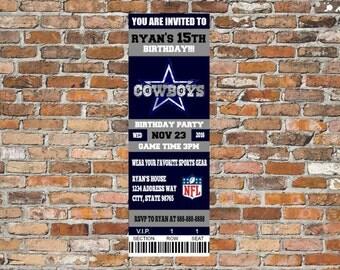Cowboy ticket birthday invitation, cowboy birthday, cowboy invitation, football bday, cowboy ticket invitation, 2 tickets on 4x6