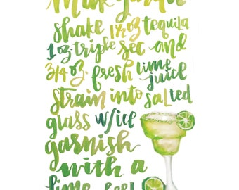 Handlettered Margarita Recipe