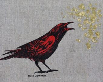 "Original Frames 8x10 Acrylic on Linen with Gold Leaf ""Crow and Leaf"" by Bonnie Luchtmeijer"