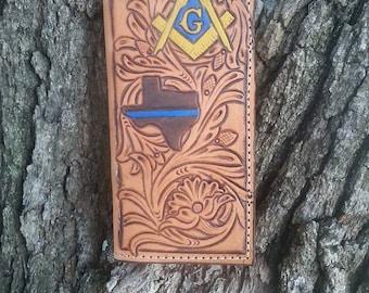 Custom Hand Tooled Leather Mens Roper Wallet
