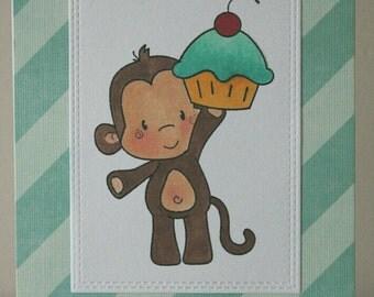 Greeting Card Handmade, Birthday Card Child, Child Birthday Card, Monkey Birthday Card, Cupcake Birthday Card
