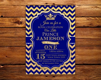 Prince Invitation. Baby Boy First Birthday Invitation. Boy 1st birthday. Royal Prince Birthday. Baby Blue- Gold Glitter.