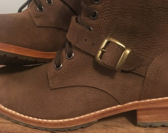Brown Leather Combat Boots (Size 9)