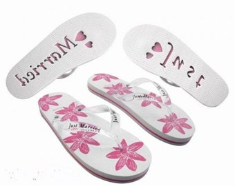 Just Married flip flops his and hers