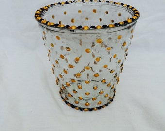 Black and gold polka dot vase