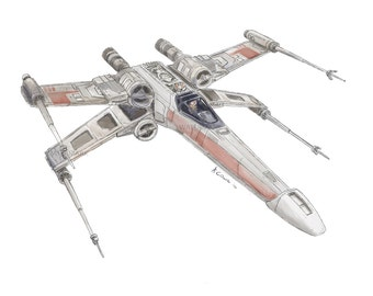 A Sketch of a rebellion X-wing Starfighter from STAR WARS fame.