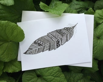 Henna feather greeting card