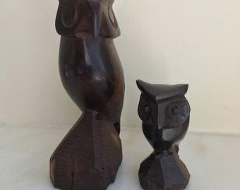 Vintage hand carved wood owls