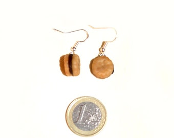 Chocolate filled cookies in polymer clay earrings