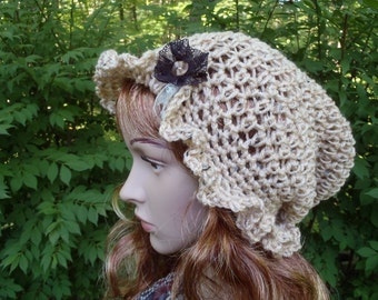 Women's Light Brown Heather Crochet Cloche Flapper Slouchy Victorian Ruffled Brim Hat With Brown Ribbon Flower Light Green Ribbon Leaves