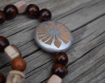 Wood and stone bead bracelets