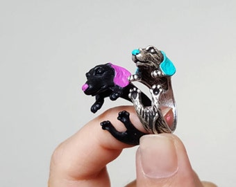 Dachshund ring, Custom Colored Animal Wrap ring, Dog Ring, Puppy Ring, Birthday Gift