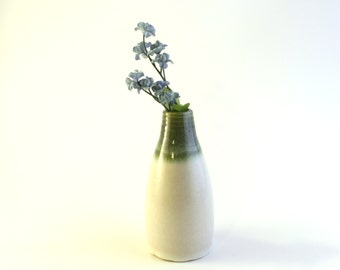 Petite Wheel Thrown Flower Vase with Green and White Glaze