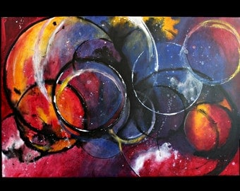 Original Abstract Blue Red Black Yellow Circles Contemporary Painting by Crystal Renee