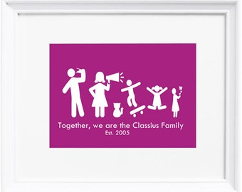 Stick Family Personalised Print