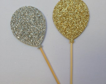 Cupcake Toppers/Cupcake Pokes. Silver and/or Gold Glitter Balloons Set of Twelve. Birthday. New Years Eve.
